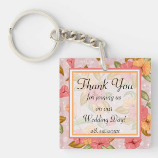 Pink Spring Floral Wedding Thank You Double-Sided Square Acrylic Key Ring