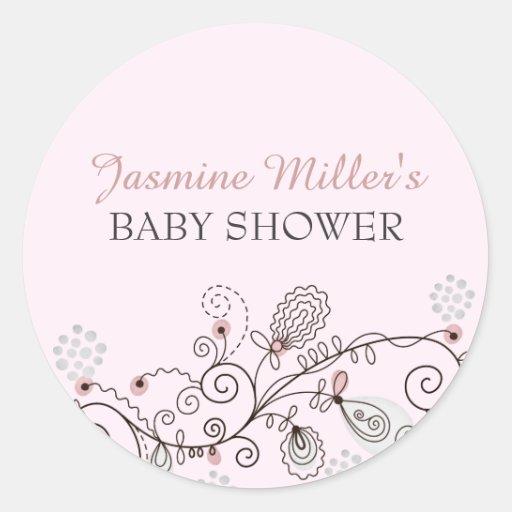 Pink Spring Flower Baby Shower Sticker