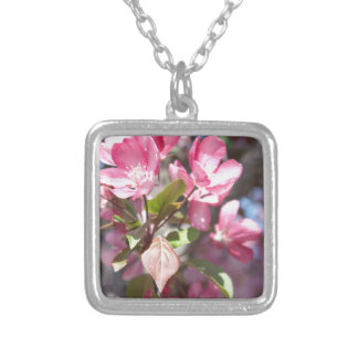 Pink Spring Flower Blossoms Silver Plated Necklace