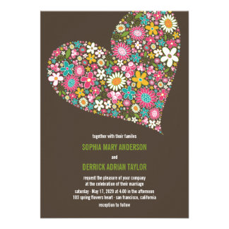 Pink Spring Flowers Heart Whimsical Wedding Invite Personalized Announcements
