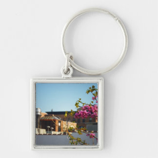 Pink Spring Flowers In The West Village Silver-Colored Square Key Ring