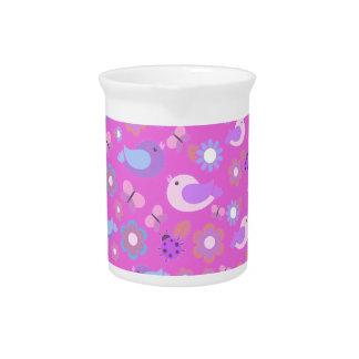 Pink spring pattern pitcher