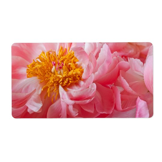 Pink Spring Peony Flower - Peonies Template Shipping Label