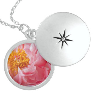 Pink Spring Peony Flower - Peonies Template Sterling Silver Necklace