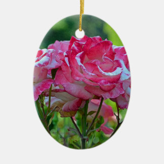 Pink spring roses ceramic ornament