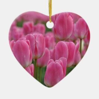 Pink spring tulips ceramic heart decoration