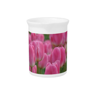 Pink spring tulips pitcher