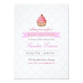 "Pink Sprinkle Cupcake Baby Shower Invitation 4.5"" X 6.25"" Invitation Card"