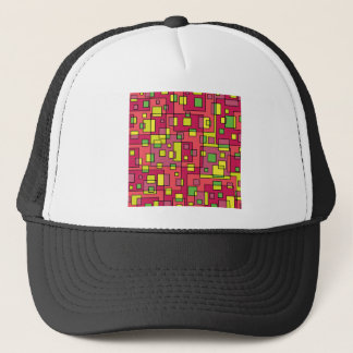 Pink square background trucker hat