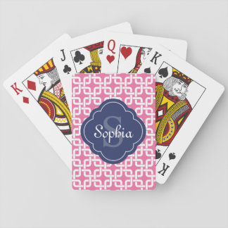 Pink Square Chain Pattern Blue Monogram Playing Cards