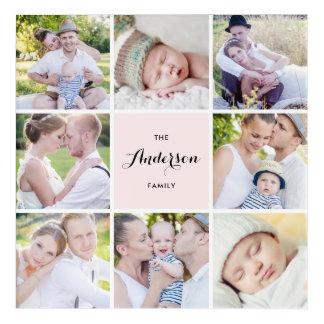 Pink Square Family Photo Collage Acrylic Wall Art