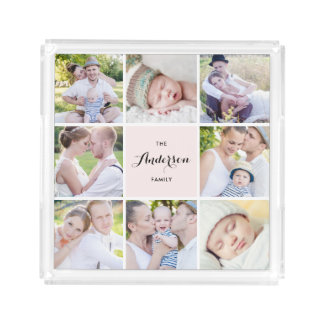 Pink Square Family Photo Collage Square Tray