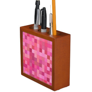 Pink Square Mosaic Desk Organiser