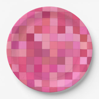 Pink Square Mosaic Paper Plate