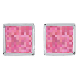 Pink Square Mosaic Silver Finish Cuff Links