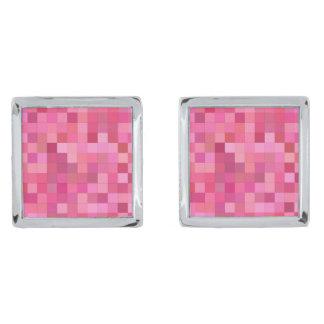 Pink Square Mosaic Silver Finish Cufflinks