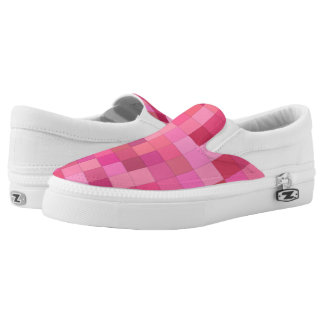 Pink Square Mosaic Slip On Shoes