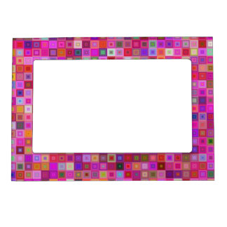 Pink square tiles magnetic photo frame