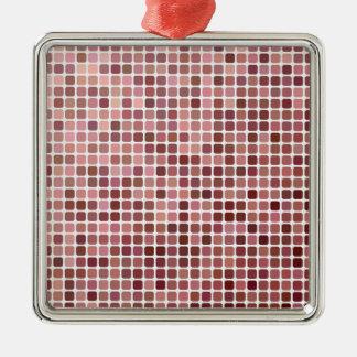 Pink Squares Metal Ornament