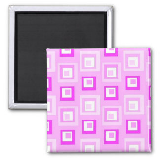 Pink squares square magnet