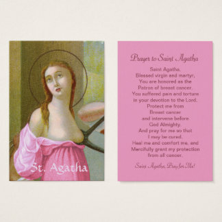 Pink St. Agatha (M 003) Prayer Card