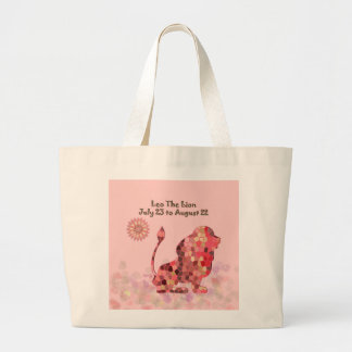 Pink Staiend-glass Leo Large Tote Bag