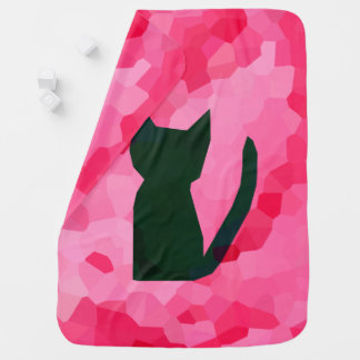 Pink Stained Glass Abstract Black Kitty Cat Baby Blanket