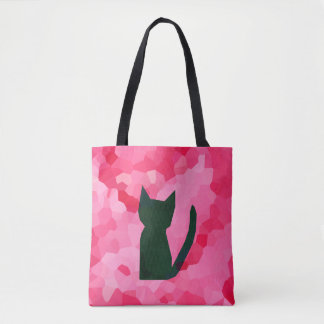 Pink Stained Glass Abstract Black Kitty Cat Tote Bag