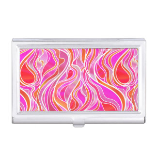 Pink Stained Glass Abstract Business Card Holder