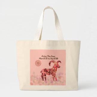 Pink Stained-glass Aries Large Tote Bag