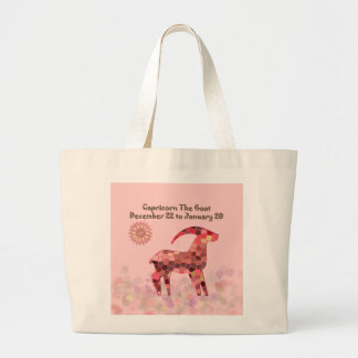 Pink Stained-glass Capricorn Large Tote Bag