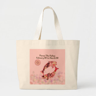 Pink Stained-glass Pisces Large Tote Bag
