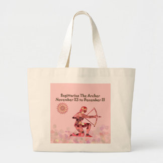 Pink Stained-glass Saggitarius Large Tote Bag