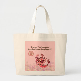 Pink Stained-glass Scorpio Large Tote Bag