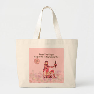 Pink Stained-glass Virgo Large Tote Bag