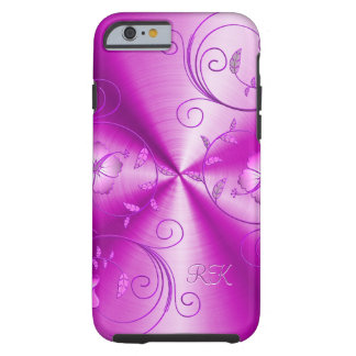 Pink Stainless Steel With Embossed Retro Flowers Tough iPhone 6 Case