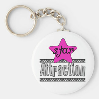 Pink Star Attraction Basic Round Button Key Ring
