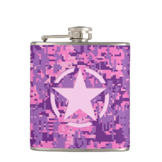 Pink Star Deco on Digital Camo Style Hip Flask