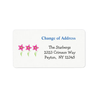 Pink Star Flowers Home Address Address Label