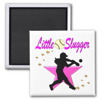PINK STAR LITTLE SLUGGER SOFTBALL DESIGN SQUARE MAGNET