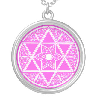 Pink Star of David Silver Plated Necklace