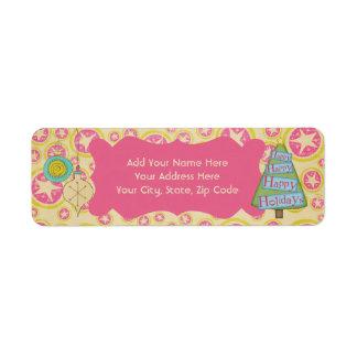 Pink Star Retro Holiday Return Address Labels