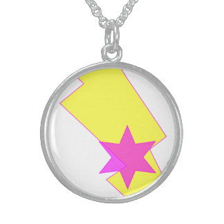 Pink Star Thunder Lightning Silver Round Necklace