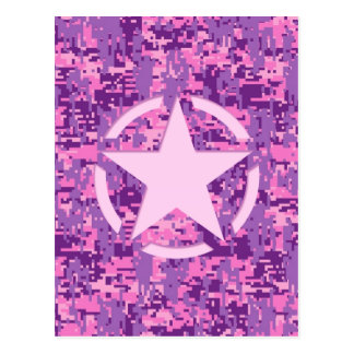 Pink Star Vintage Jeep Decal on Digital Camo Style Postcard