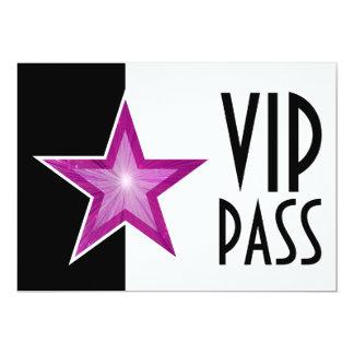 Pink Star 'VIP PASS' black white Invitation
