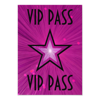 Pink Star 'VIP PASS' invitation black