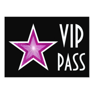 Pink Star 'VIP PASS' invitation black horizontal