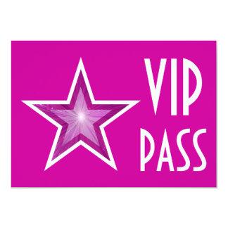 Pink Star 'VIP PASS' invitation pink horizontal