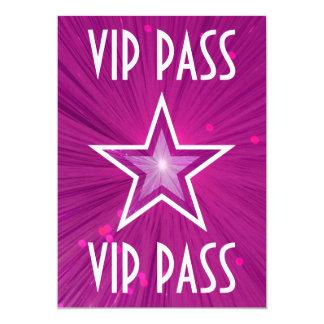 Pink Star 'VIP PASS' invitation white