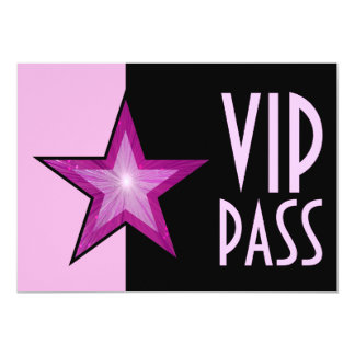 Pink Star 'VIP PASS' pale pink black Personalized Invitation